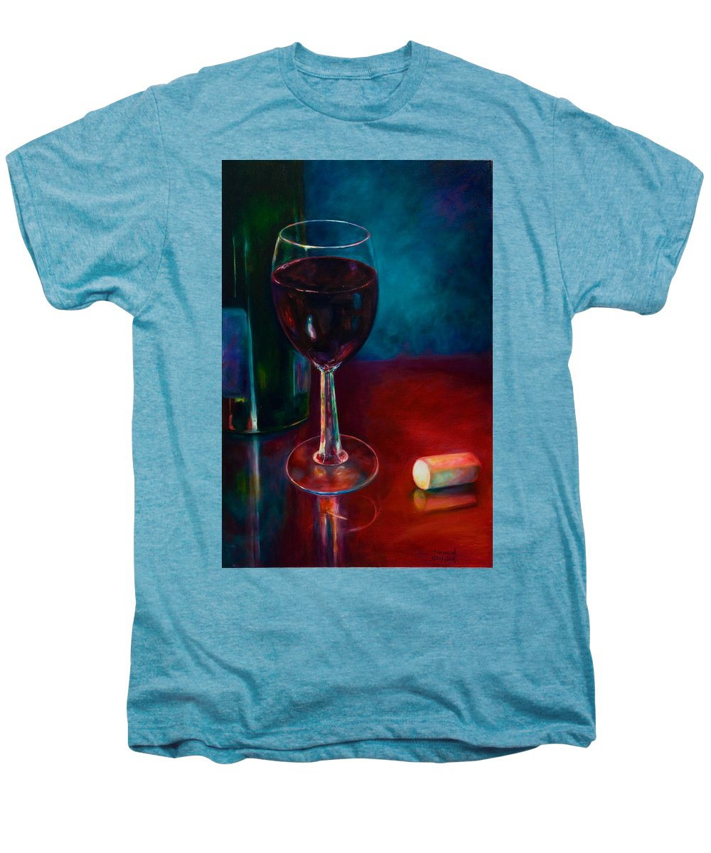 Wine Bottle Men's Premium T-Shirt featuring the painting Zinfandel by Shannon Grissom