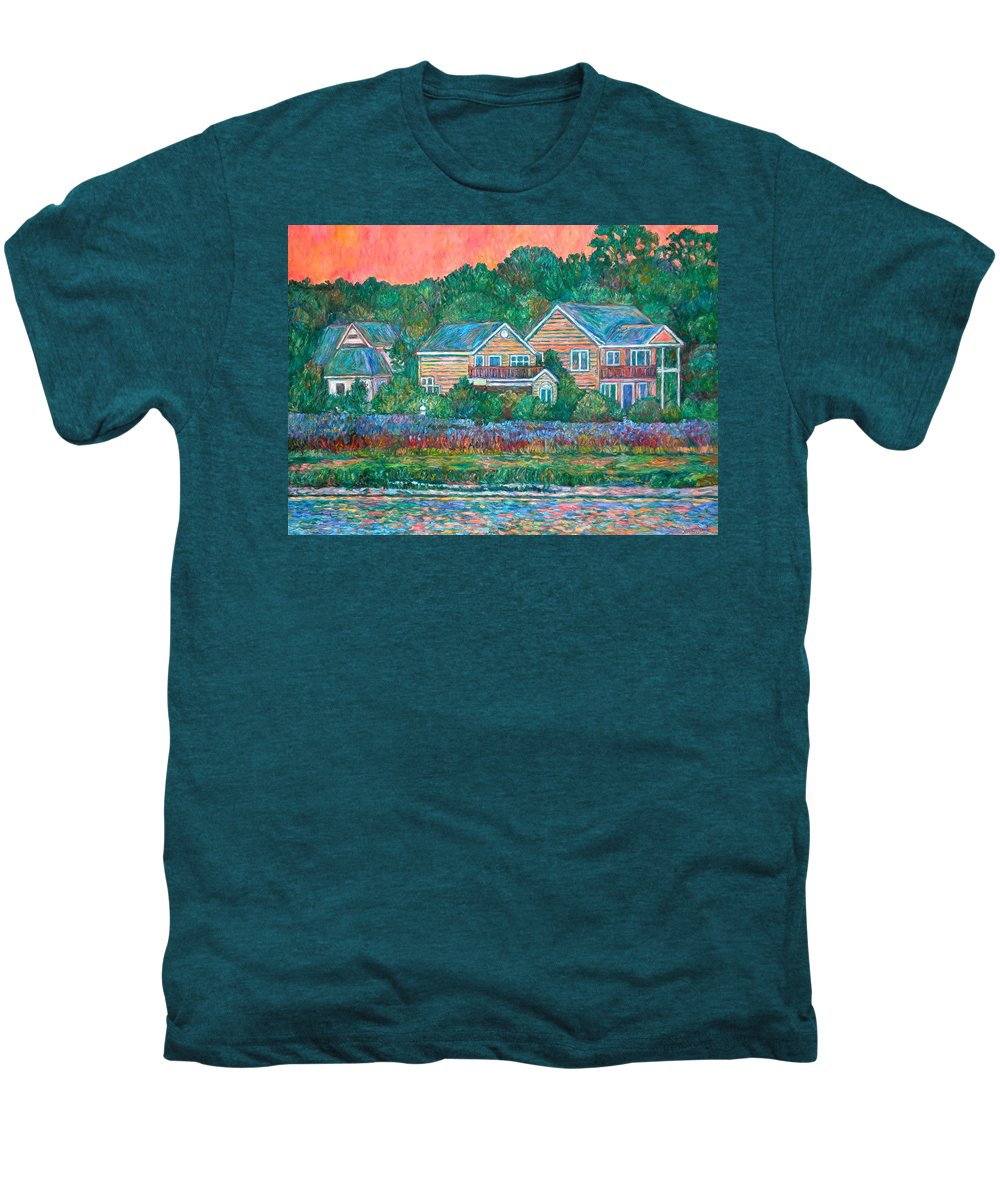 Landscape Men's Premium T-Shirt featuring the painting Across The Marsh At Pawleys Island    by Kendall Kessler