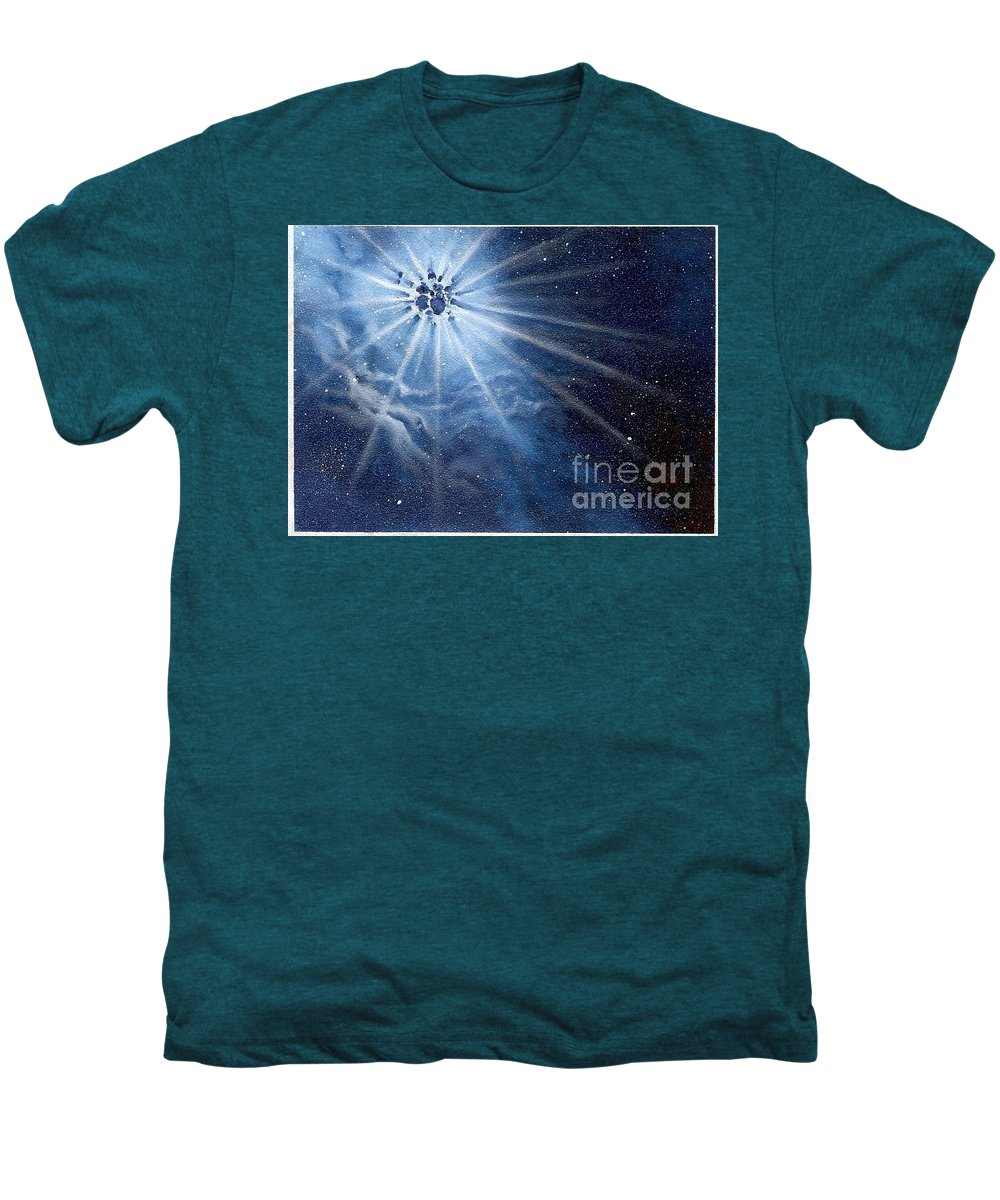 Outerspace Men's Premium T-Shirt featuring the painting Burst Of Light by Murphy Elliott