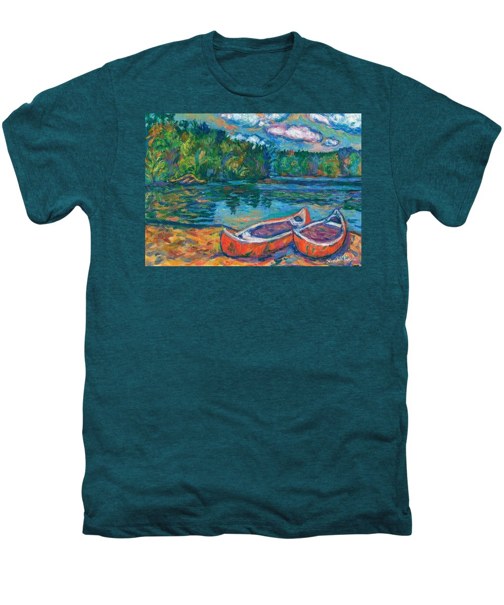 Landscape Men's Premium T-Shirt featuring the painting Canoes At Mountain Lake Sketch by Kendall Kessler