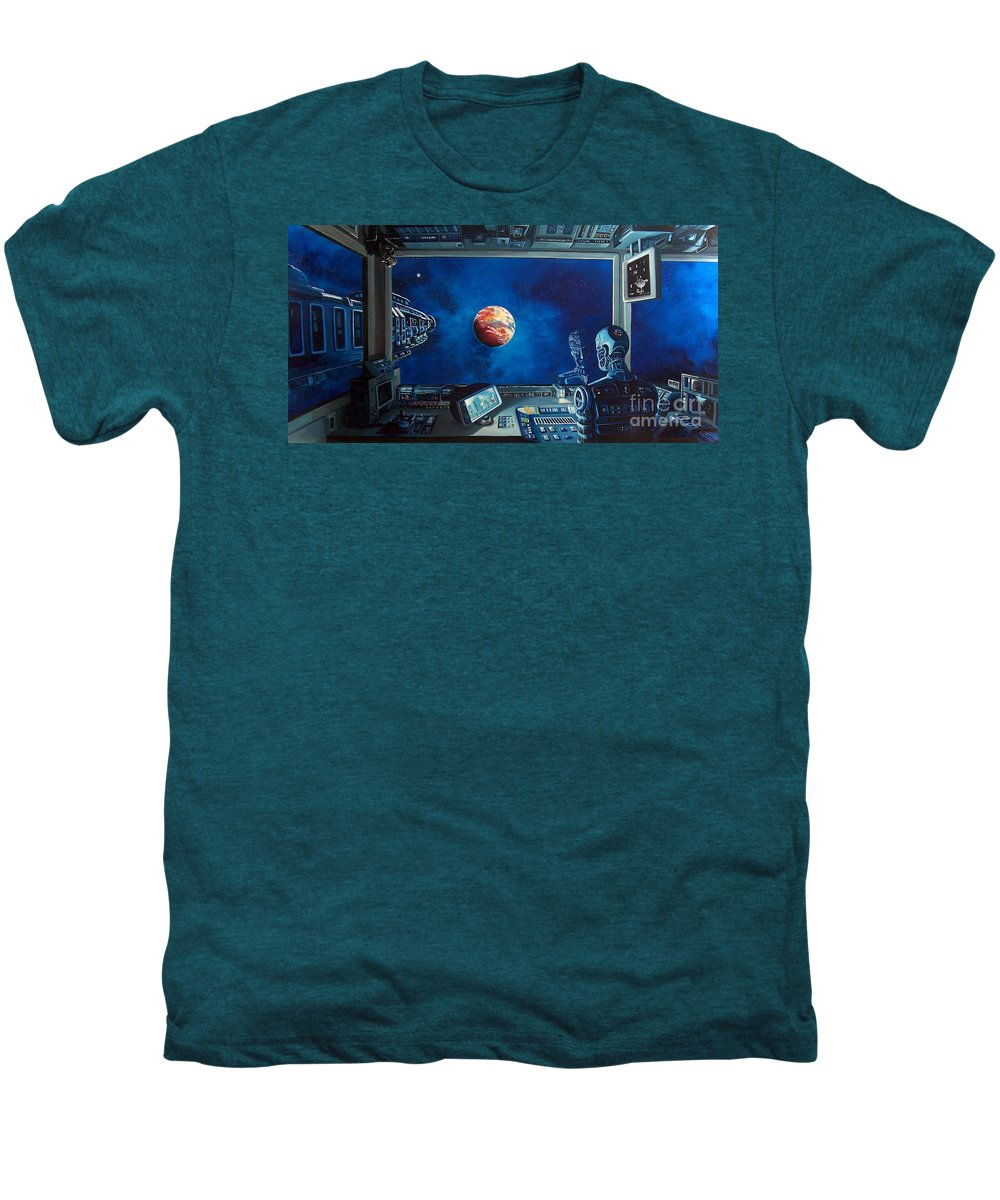 Fantasy Men's Premium T-Shirt featuring the painting Crying Robot by Murphy Elliott