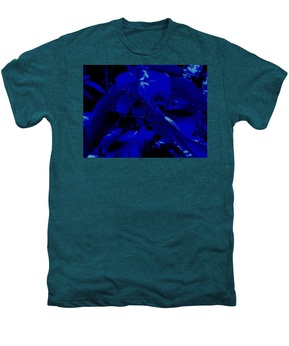 Leaves Men's Premium T-Shirt featuring the photograph Dark Blue Leaves by Ian MacDonald