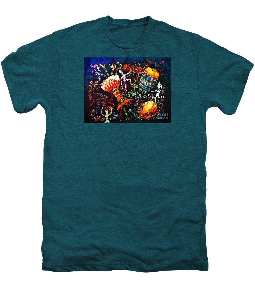 Drums Men's Premium T-Shirt featuring the painting Drumbeat by Sue Duda