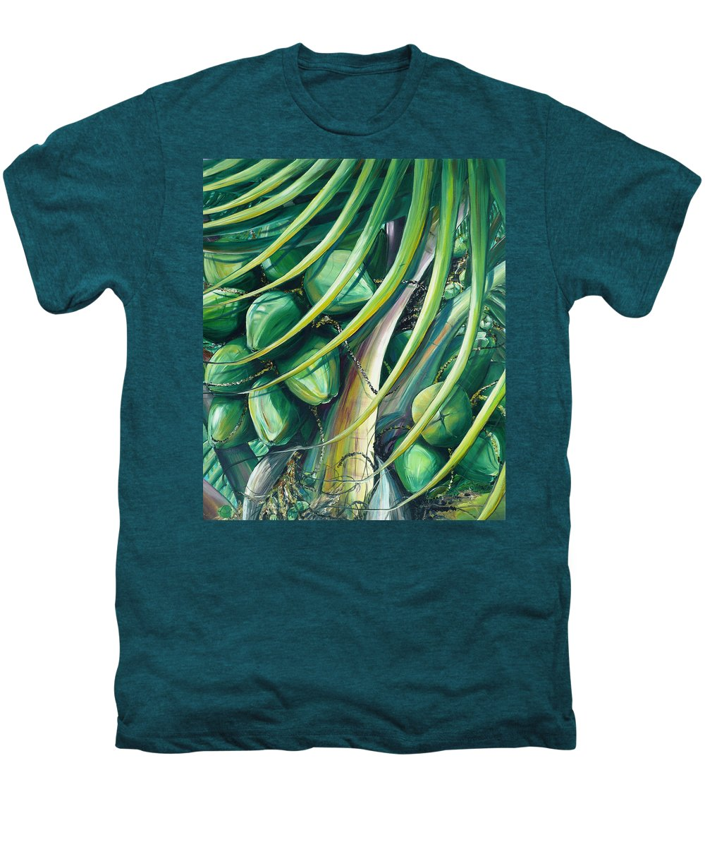 Coconut Painting Caribbean Painting Coconuts Caribbean Tropical Painting Palm Tree Painting  Green Botanical Painting Green Painting Men's Premium T-Shirt featuring the painting Green Coconuts 2 by Karin Dawn Kelshall- Best