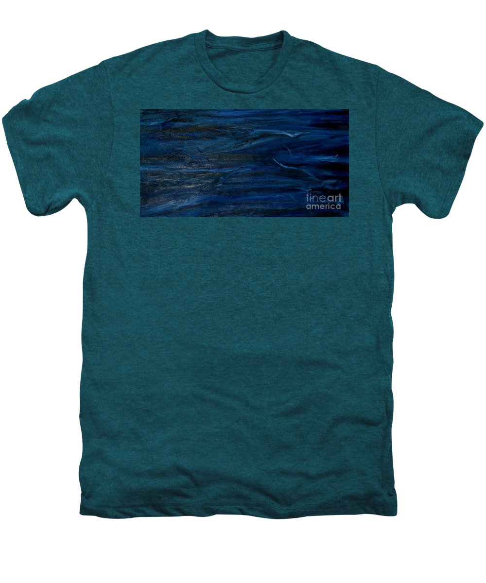 Modern Art Men's Premium T-Shirt featuring the painting Immense Blue by Silvana Abel