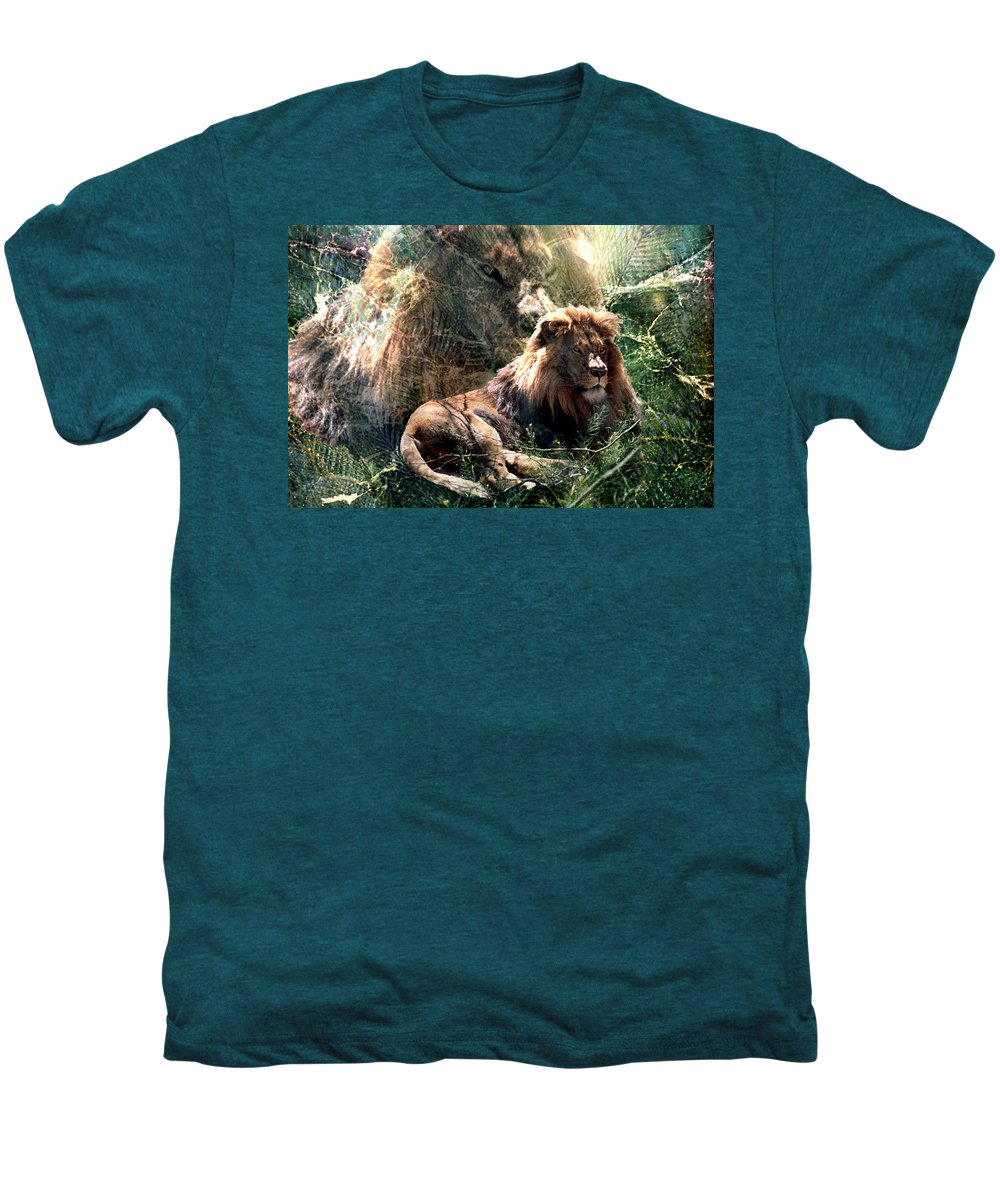 Lion Men's Premium T-Shirt featuring the digital art Lion Spirit by Lisa Yount