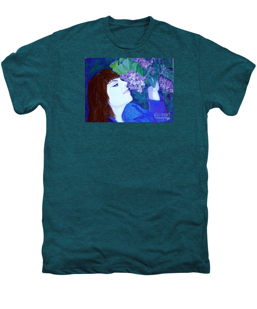 Lilacs Men's Premium T-Shirt featuring the painting Lush Lilacs by Laurie Morgan