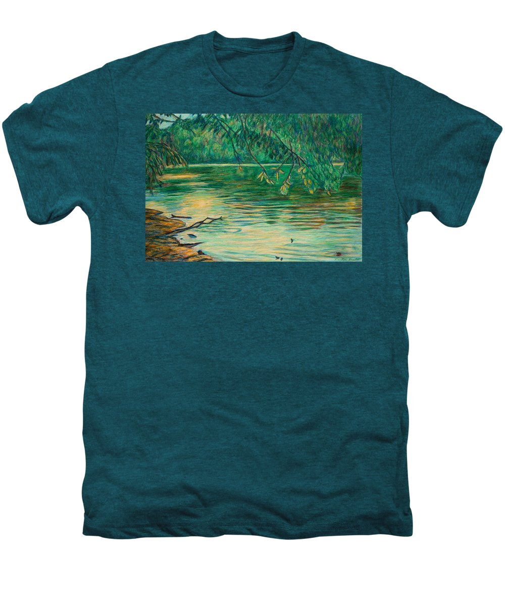 Landscape Men's Premium T-Shirt featuring the painting Mid-spring On The New River by Kendall Kessler