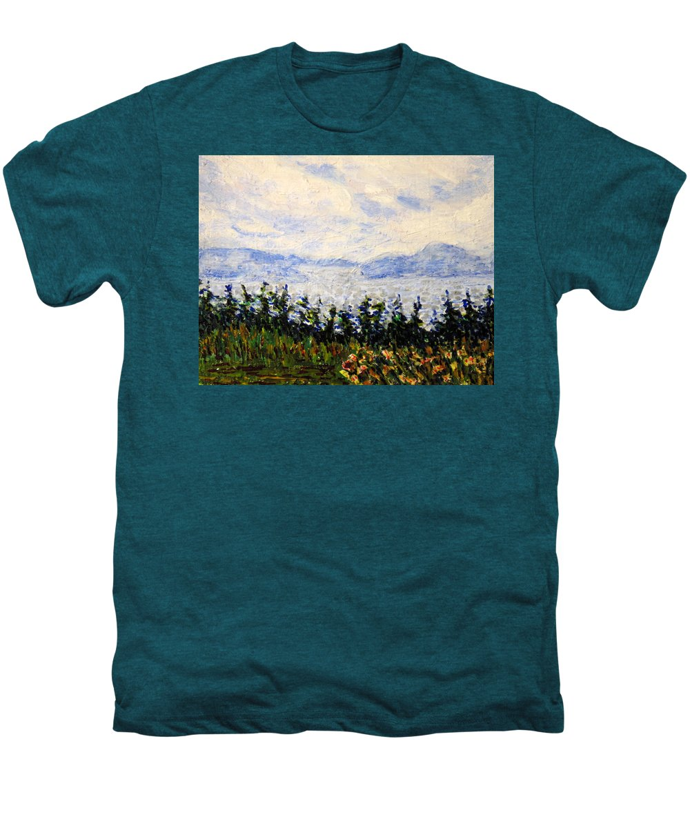 Newfoundland Men's Premium T-Shirt featuring the painting Newfoundland Up The West Coast by Ian MacDonald