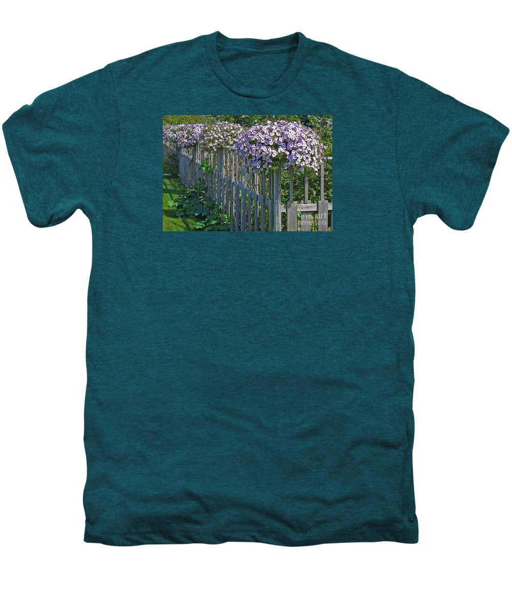 Petunia Men's Premium T-Shirt featuring the photograph On The Fence by Ann Horn