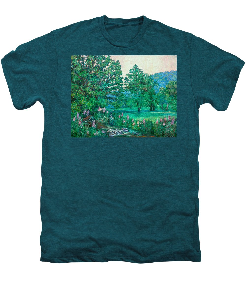 Landscape Men's Premium T-Shirt featuring the painting Park Road In Radford by Kendall Kessler