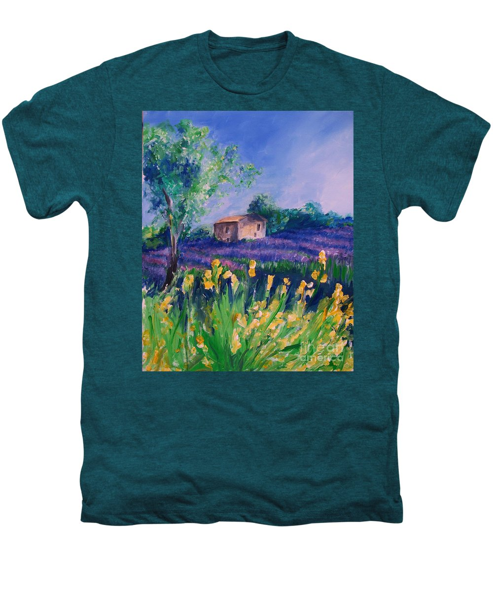 Floral Men's Premium T-Shirt featuring the digital art Provence Yellow Flowers by Eric Schiabor