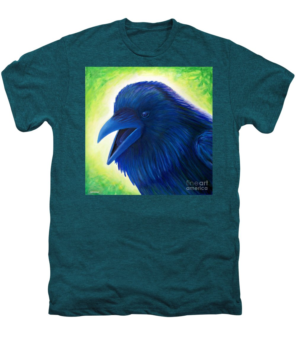 Raven Men's Premium T-Shirt featuring the painting Raaawk by Brian Commerford
