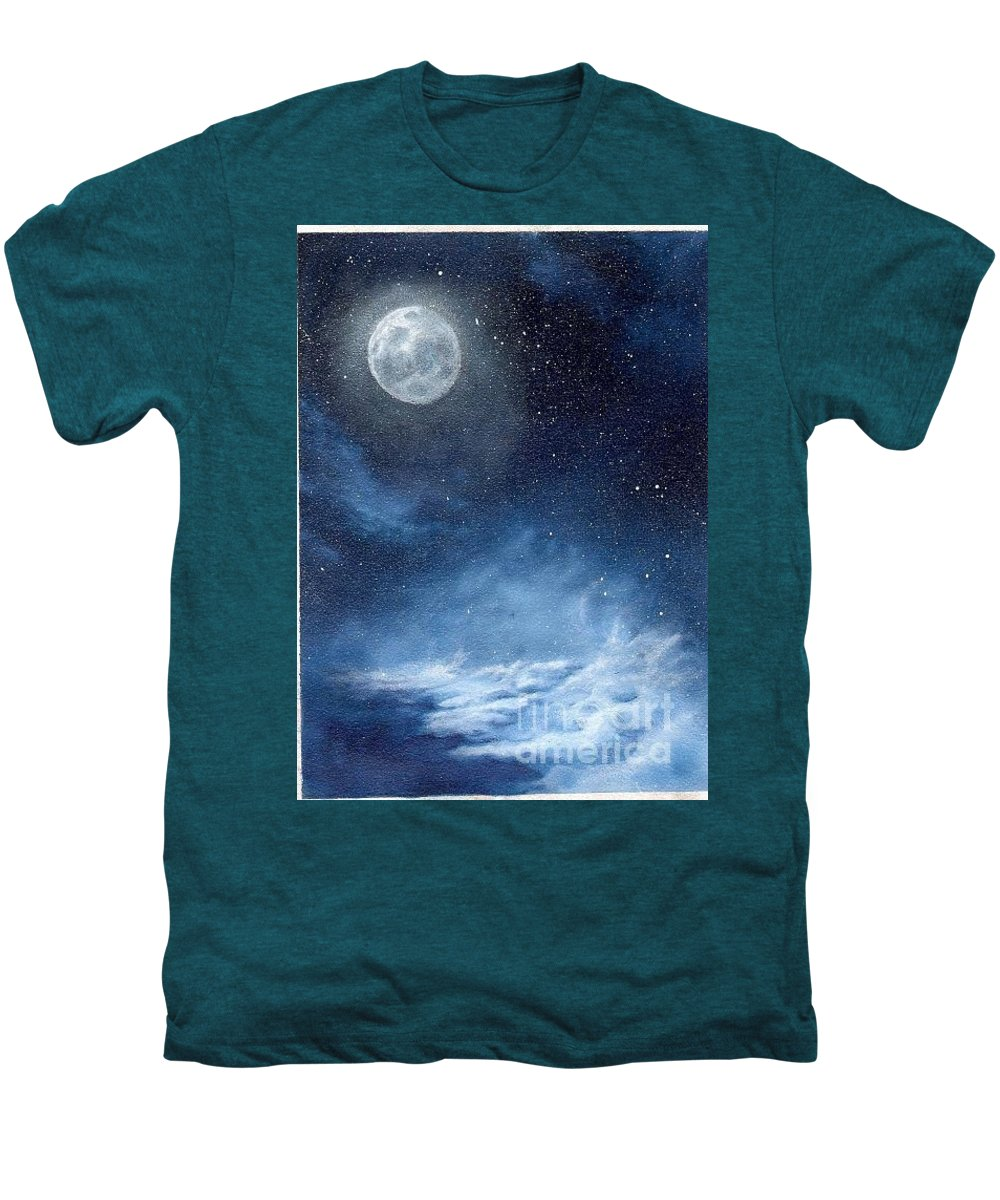 Cosmos Men's Premium T-Shirt featuring the painting Shimmer by Murphy Elliott