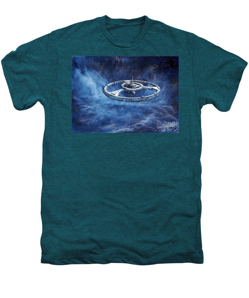 Sci-fi Men's Premium T-Shirt featuring the painting Deep Space Eight Station Of The Future by Murphy Elliott