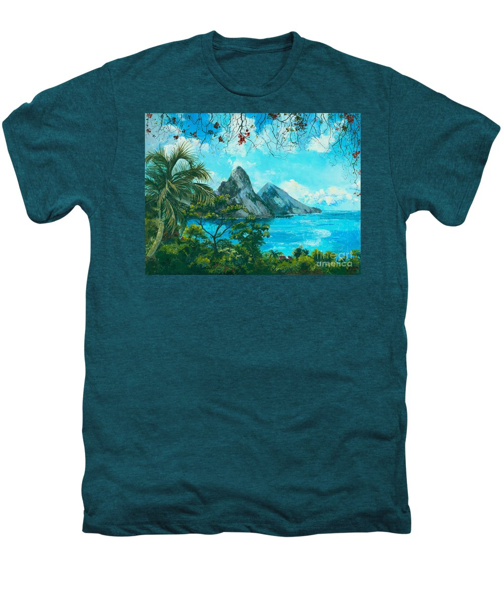 Mountains Men's Premium T-Shirt featuring the painting St. Lucia - W. Indies by Elisabeta Hermann