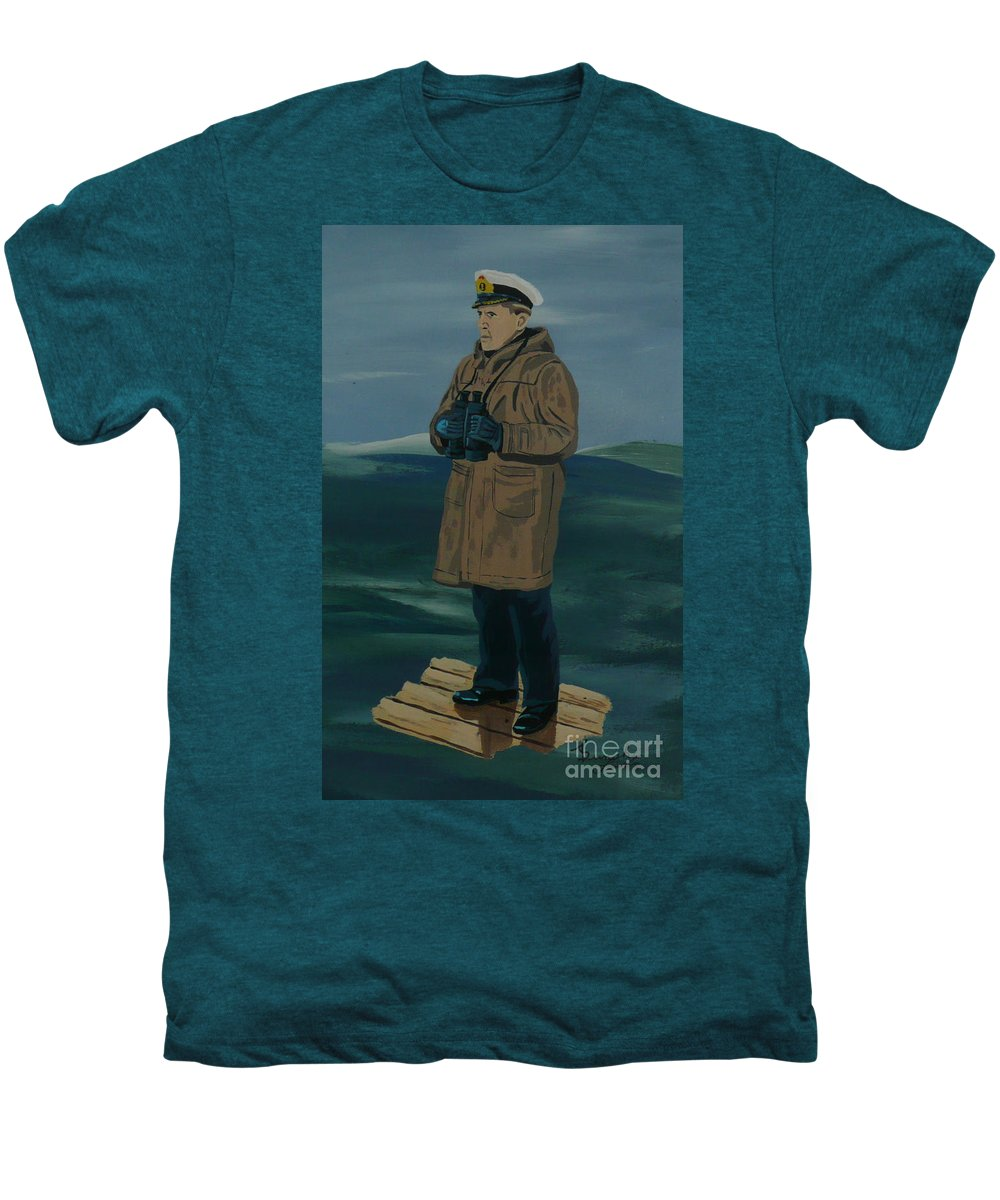 Captain Men's Premium T-Shirt featuring the painting The Captain by Anthony Dunphy