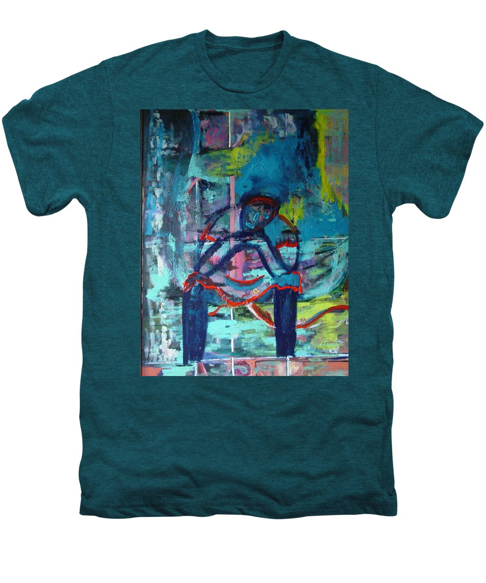 Woman On Bench Men's Premium T-Shirt featuring the painting Waiting by Peggy Blood