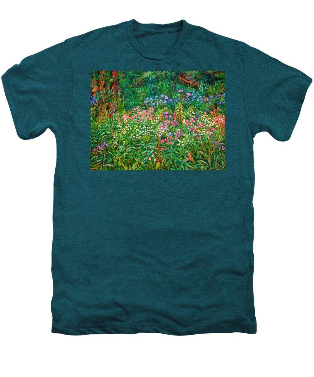 Floral Men's Premium T-Shirt featuring the painting Wildflowers Near Fancy Gap by Kendall Kessler