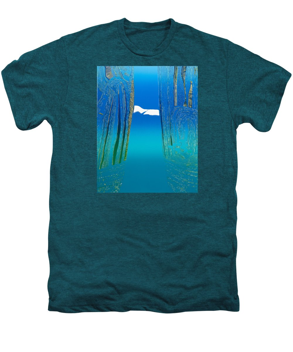 Landscape Men's Premium T-Shirt featuring the mixed media Between Two Mountains. by Jarle Rosseland