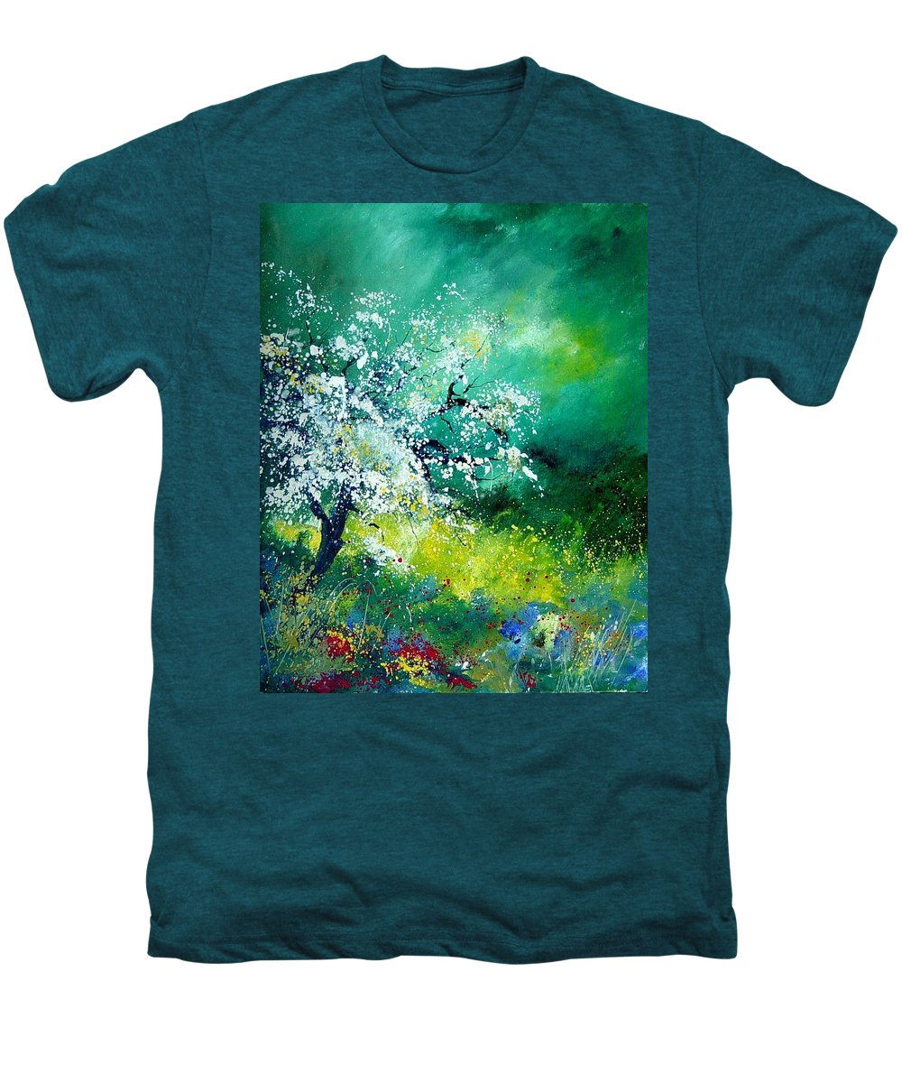 Flowers Men's Premium T-Shirt featuring the painting Spring by Pol Ledent