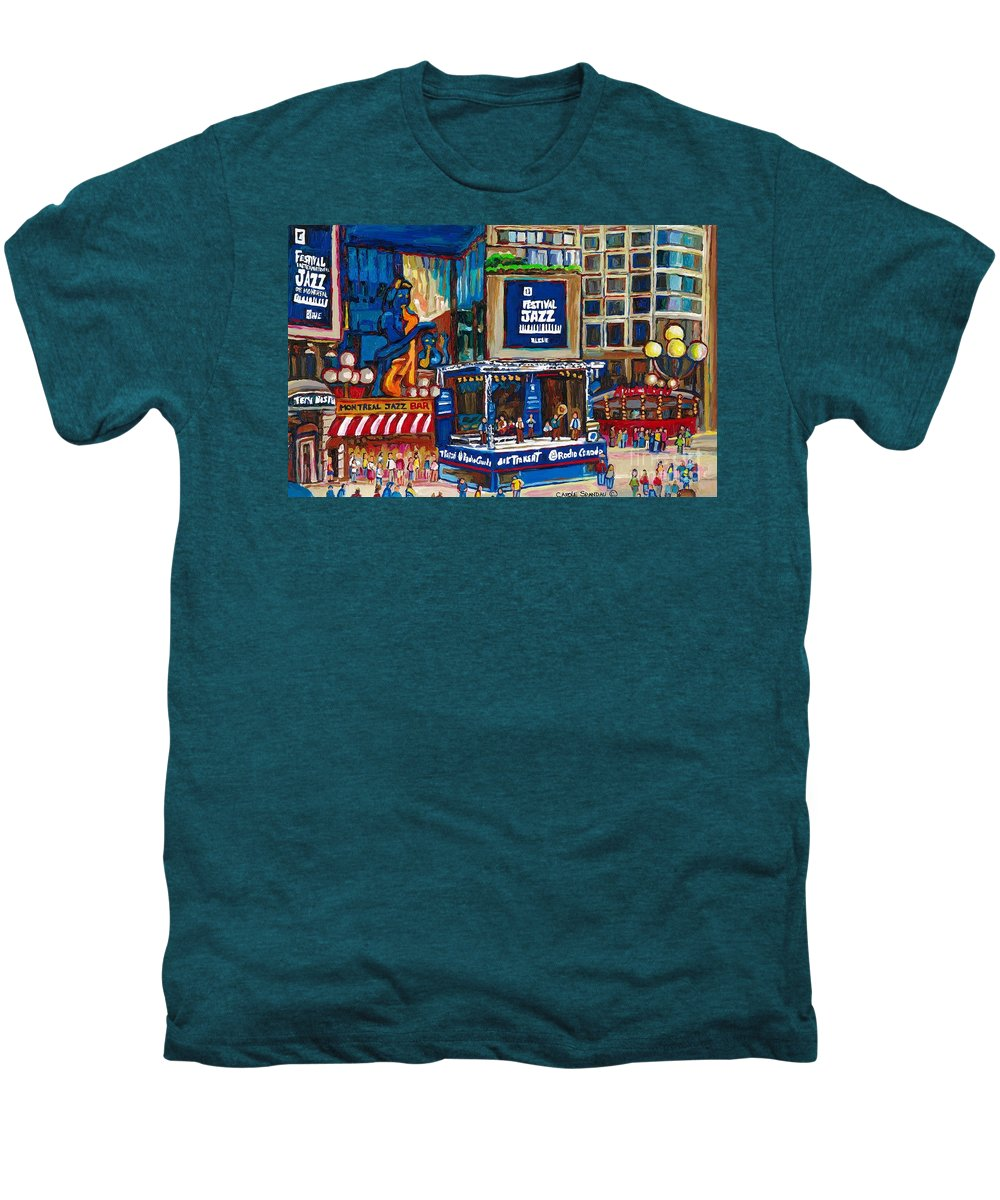 Montreal Men's Premium T-Shirt featuring the painting All That Jazz by Carole Spandau