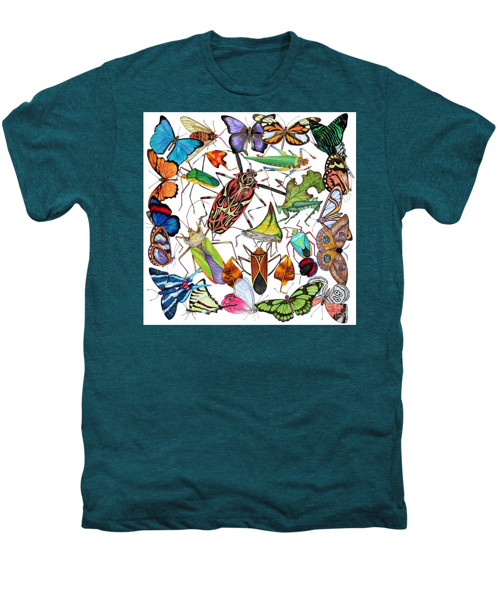Insects Men's Premium T-Shirt featuring the painting Amazon Insects by Lucy Arnold