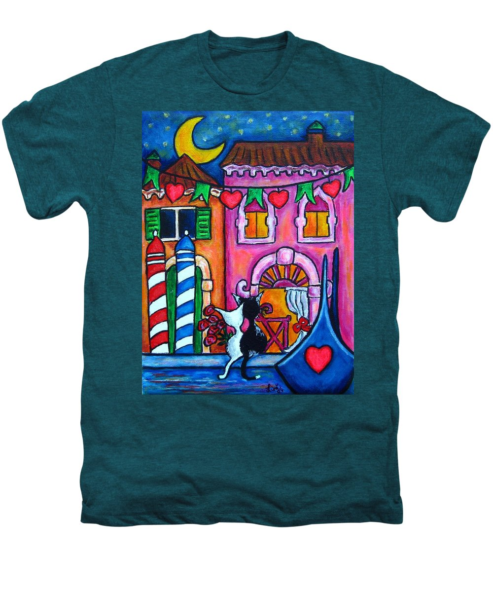 Cats Men's Premium T-Shirt featuring the painting Amore In Venice by Lisa Lorenz