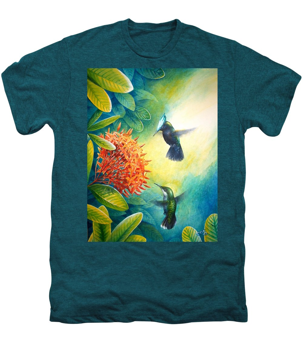Chris Cox Men's Premium T-Shirt featuring the painting Antillean Crested Hummingbirds And Ixora by Christopher Cox