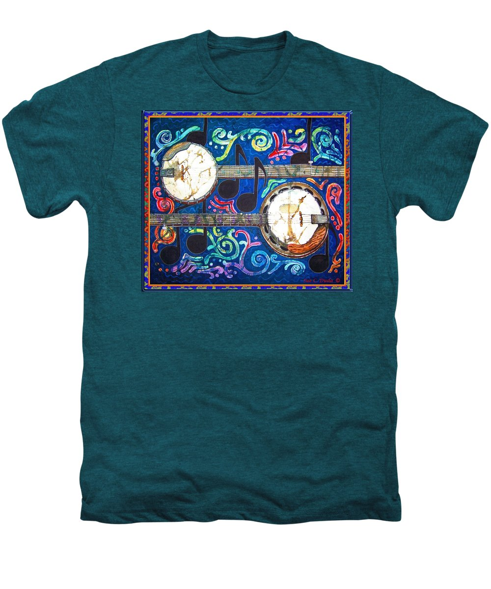 Banjo Men's Premium T-Shirt featuring the painting Banjos - Bordered by Sue Duda