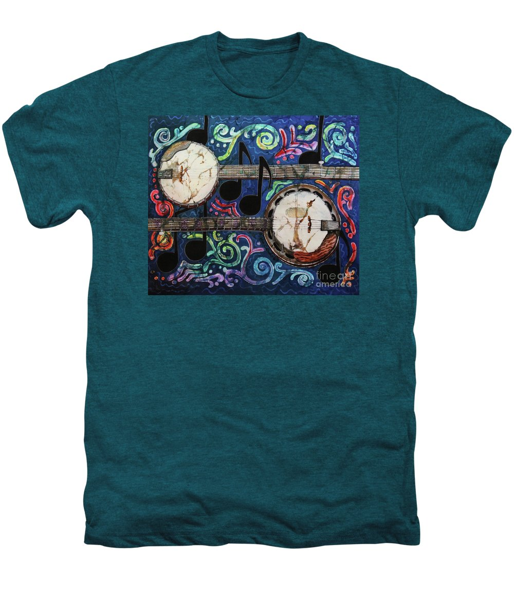 Banjo Men's Premium T-Shirt featuring the painting Banjos by Sue Duda