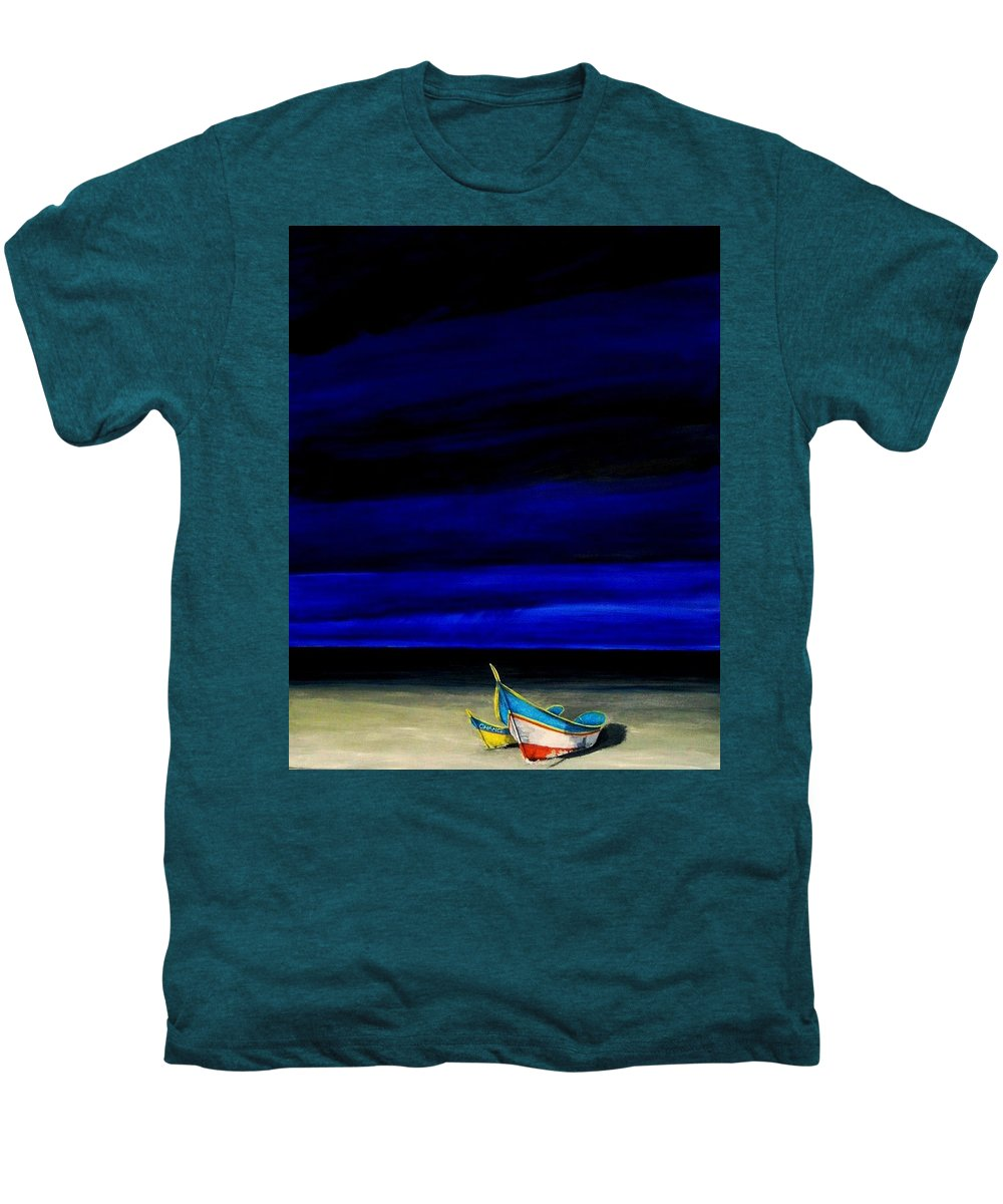 Landscape Painting Men's Premium T-Shirt featuring the painting Beached by Edith Peterson-Watson