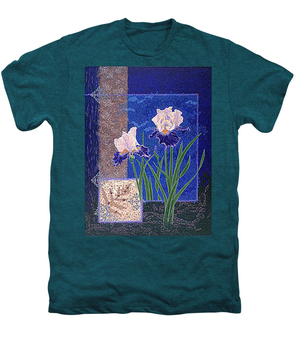 Irises Men's Premium T-Shirt featuring the painting Bearded Irises Fine Art Print Giclee Ladybug Path by Baslee Troutman