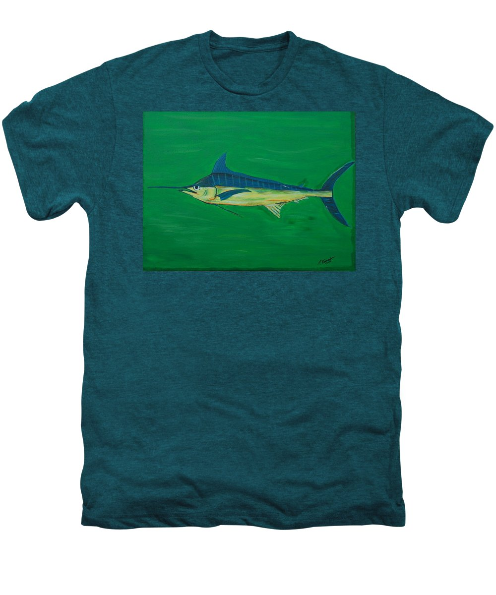 Blue Marlin Men's Premium T-Shirt featuring the painting Big Fish by Angela Miles Varnado