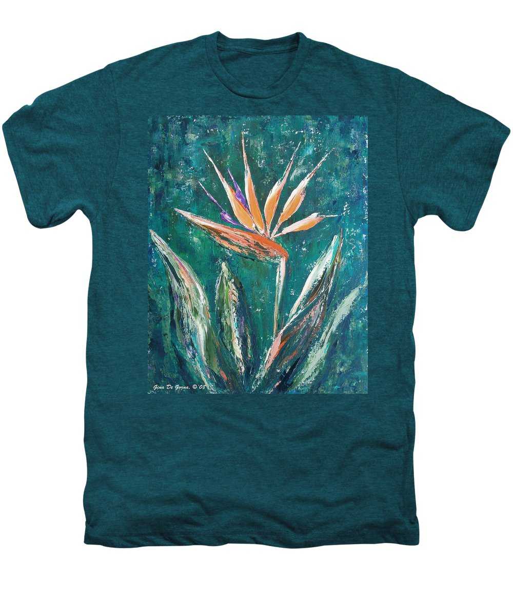 Bird Of Paradise Men's Premium T-Shirt featuring the painting Bird Of Paradise by Gina De Gorna