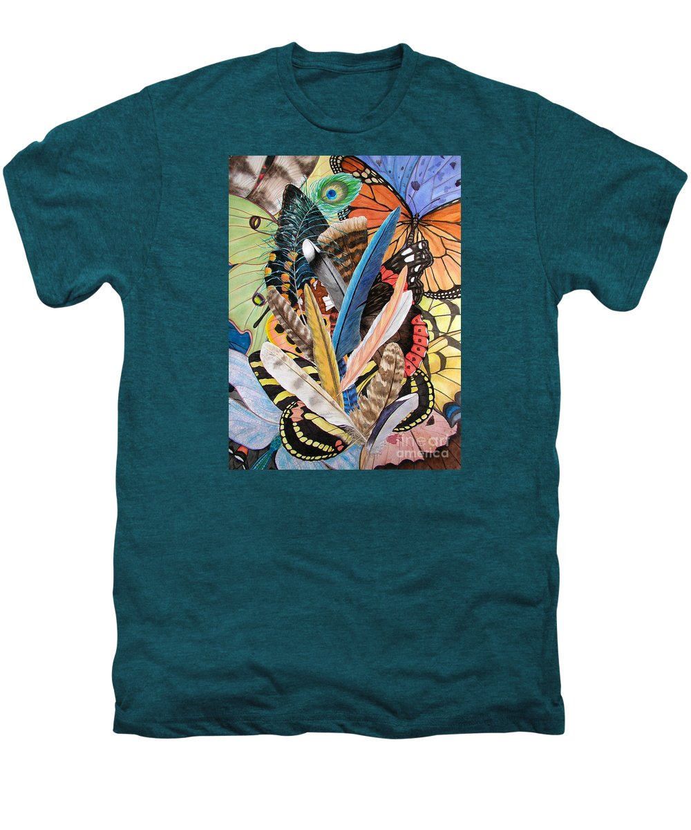 Feathers Men's Premium T-Shirt featuring the painting Bits Of Flight by Lucy Arnold