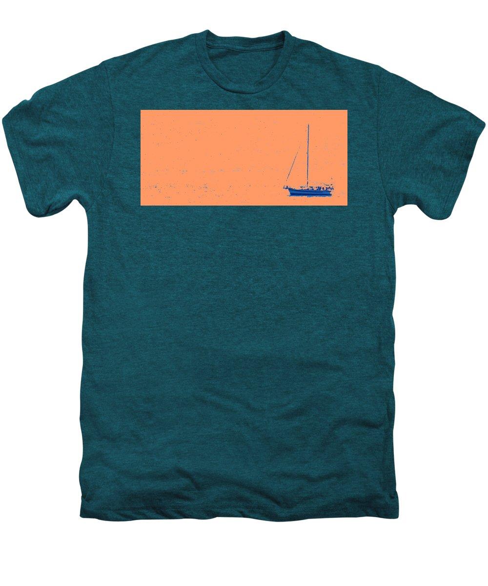 Boat Men's Premium T-Shirt featuring the photograph Boat On An Orange Sea by Ian MacDonald