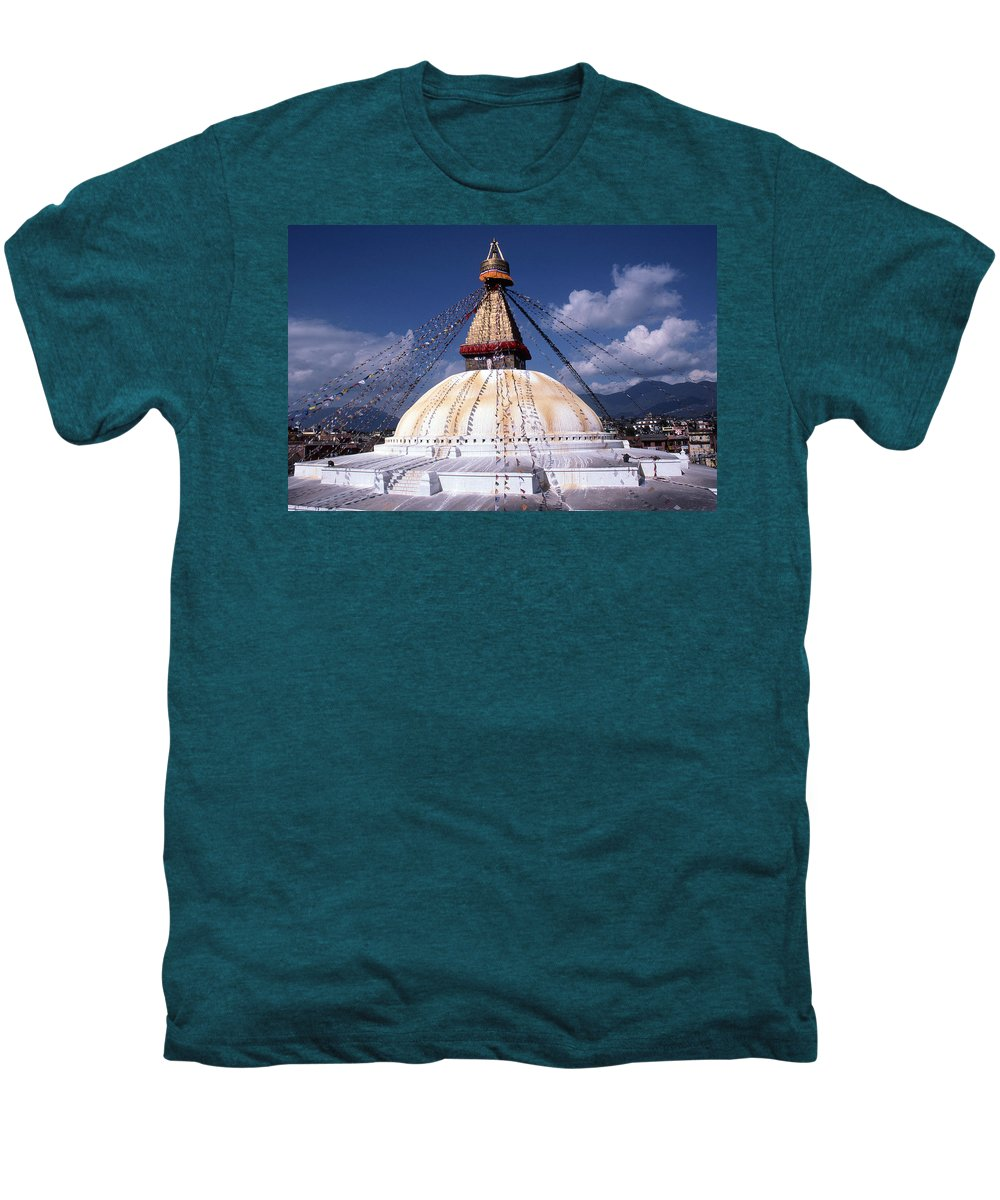 Bodhnath Stupa Men's Premium T-Shirt featuring the photograph Bodhnath Stupa by Patrick Klauss