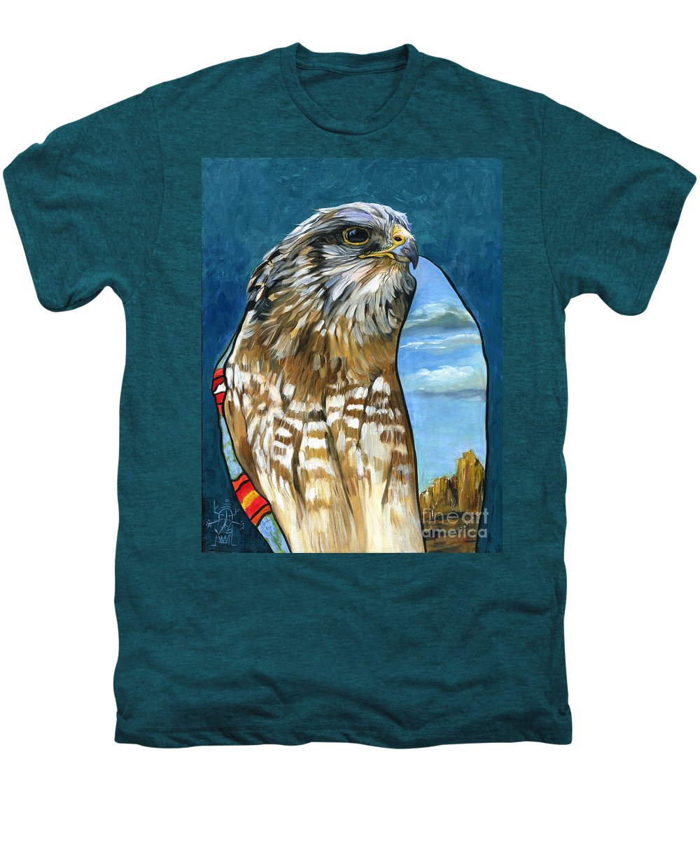 Hawk Men's Premium T-Shirt featuring the painting Brother Hawk by J W Baker