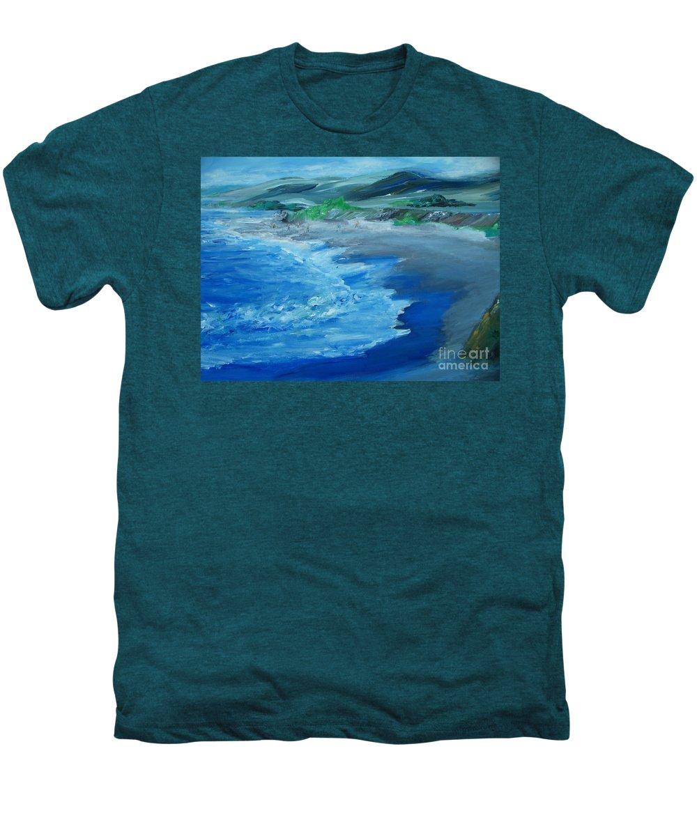 California Coast Men's Premium T-Shirt featuring the painting California Coastline Impressionism by Eric Schiabor