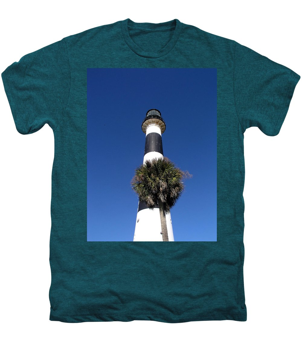 Cape; Canaveral; Light; Lighthouse; Lighthousekeeper; Keeper; Stairs; Kennedy; Space Center; Air For Men's Premium T-Shirt featuring the photograph Cape Canaveral Light On The Atlantic Coast Of Florida by Allan Hughes