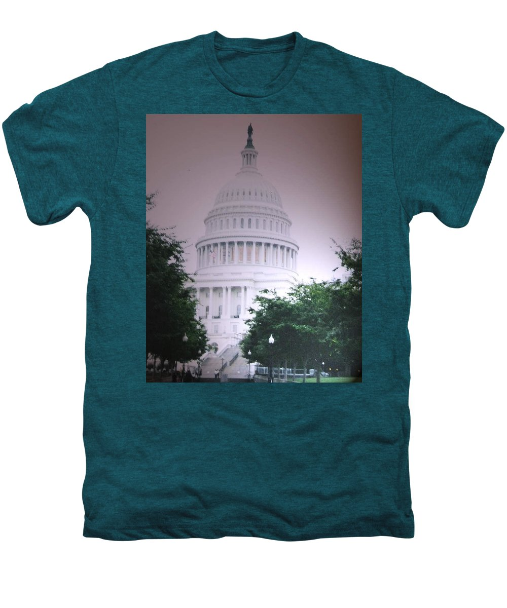 Capitol Men's Premium T-Shirt featuring the photograph Capitol In Pink by Pharris Art