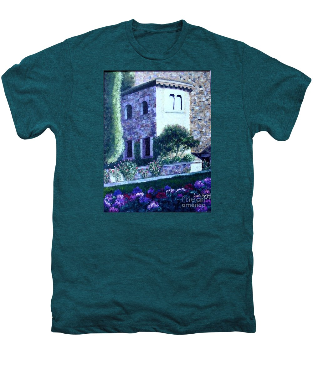 Italy Men's Premium T-Shirt featuring the painting Castle Sestri Levante by Laurie Morgan