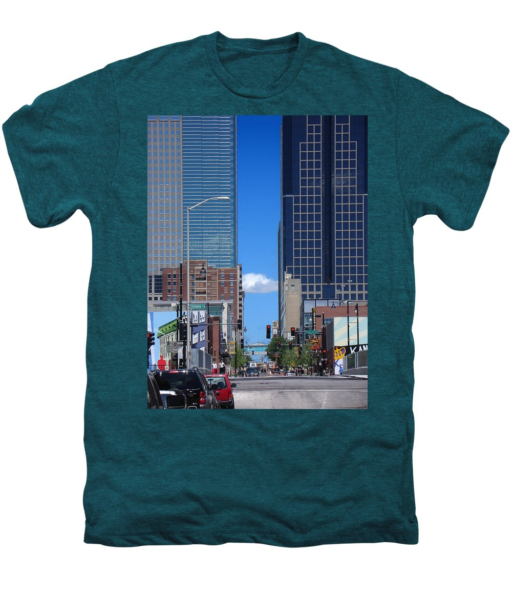 Kansas City Men's Premium T-Shirt featuring the photograph City Street Canyon by Steve Karol