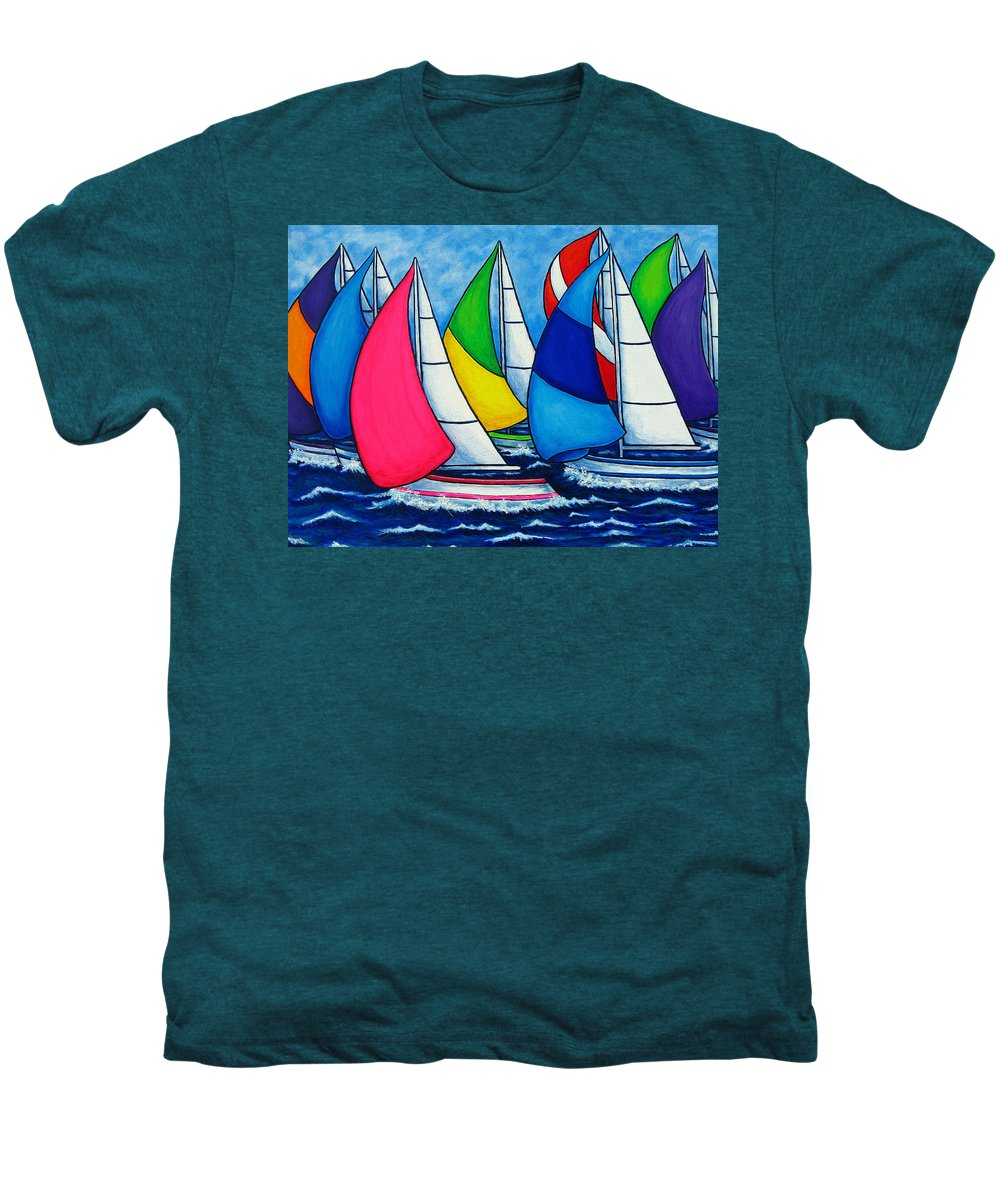 Boats Men's Premium T-Shirt featuring the painting Colourful Regatta by Lisa Lorenz
