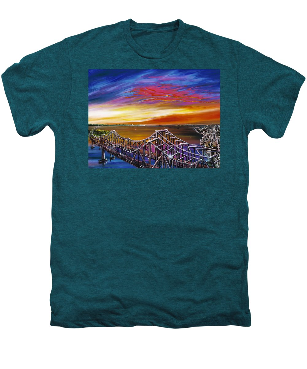 Clouds Men's Premium T-Shirt featuring the painting Cooper River Bridge by James Christopher Hill