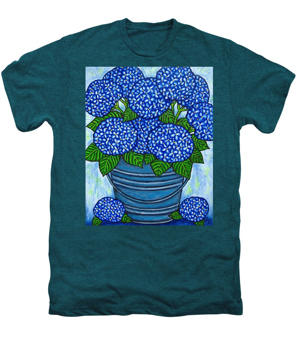 Blue Men's Premium T-Shirt featuring the painting Country Blues by Lisa Lorenz