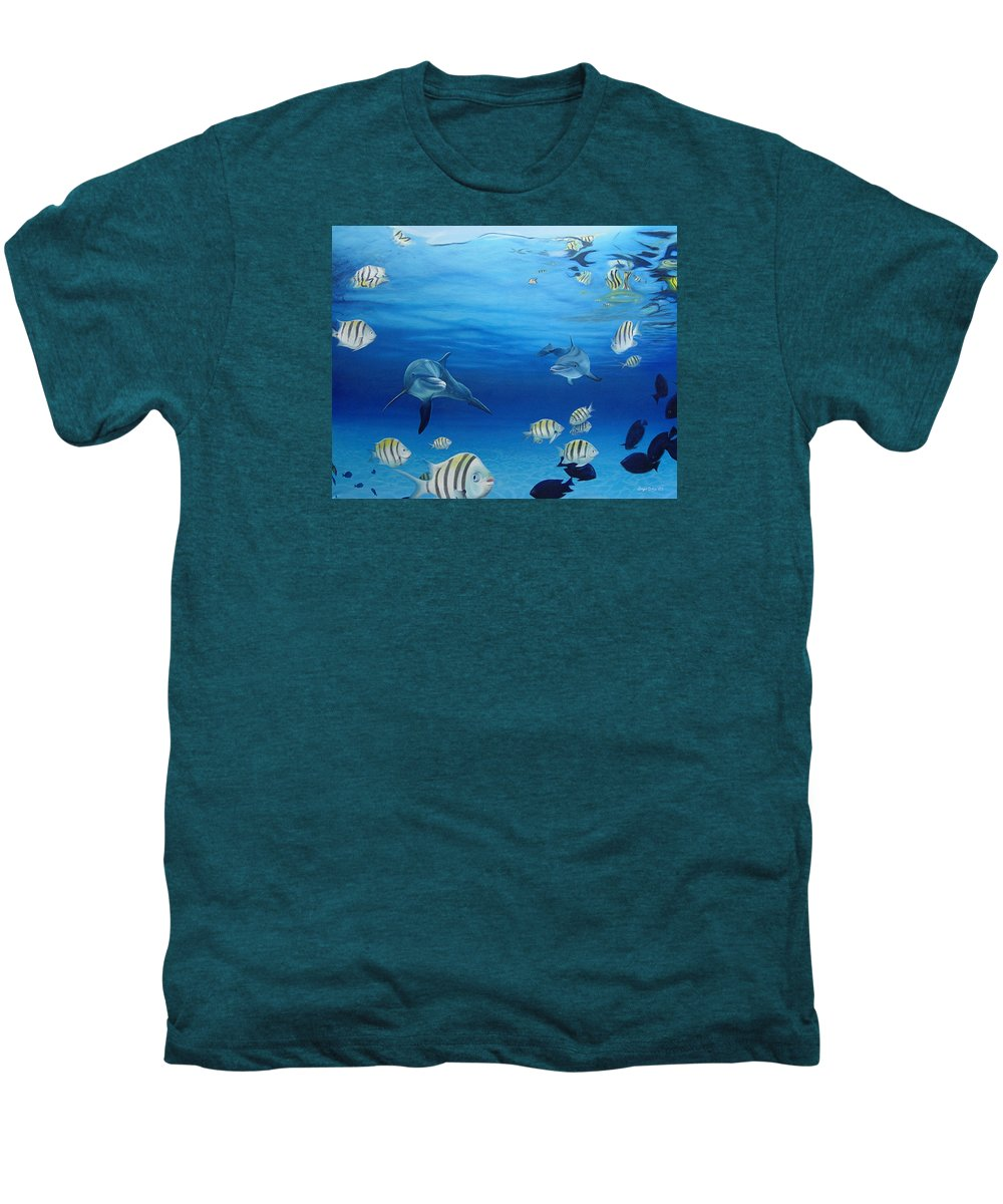 Seascape Men's Premium T-Shirt featuring the painting Delphinus by Angel Ortiz