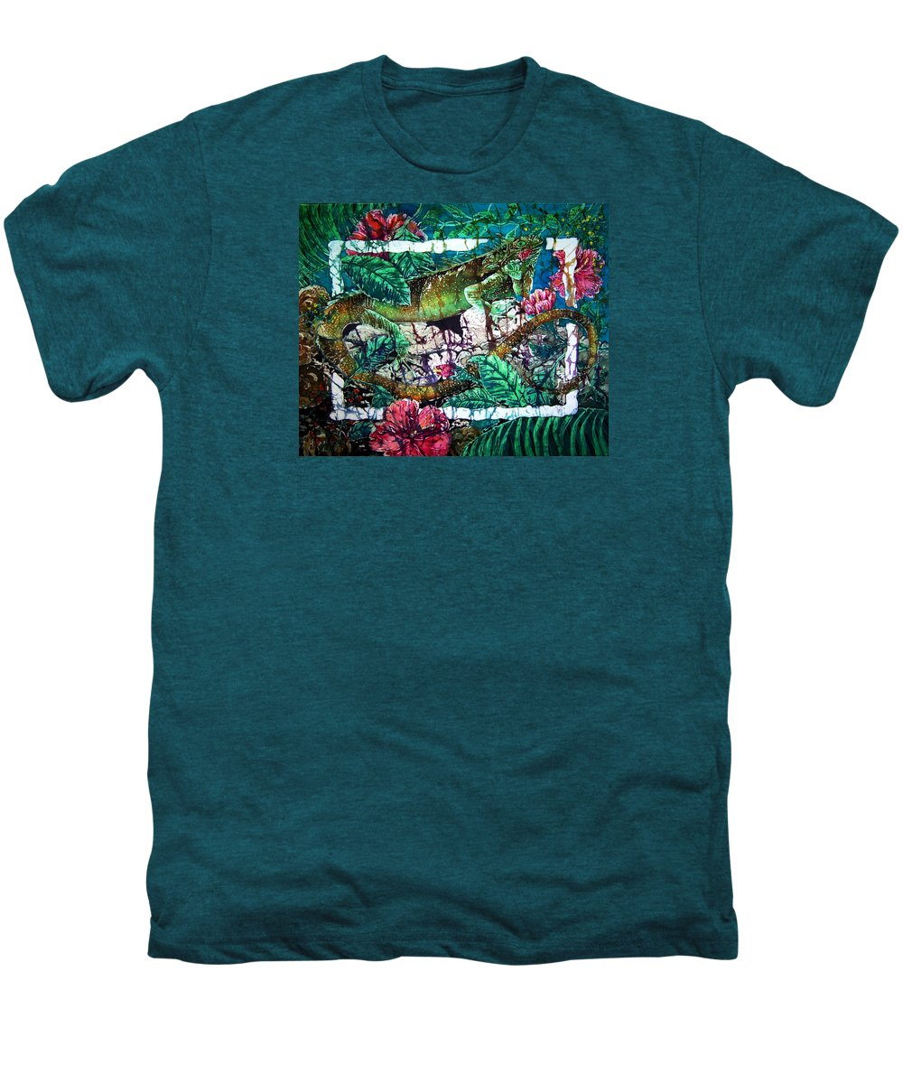 Iguana Men's Premium T-Shirt featuring the painting Dining At The Hibiscus Cafe - Iguana by Sue Duda