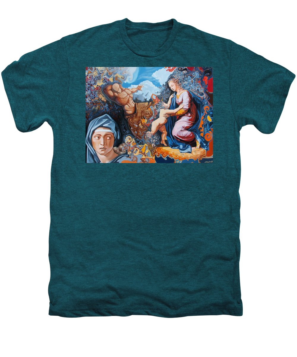 Surrealism Men's Premium T-Shirt featuring the painting Disintegration Of The Old Ancient World by Darwin Leon